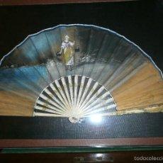 Antigüedades: ABANICO MODERNISTA DE HUESO, PINTADO A MANO.. Lote 56497638
