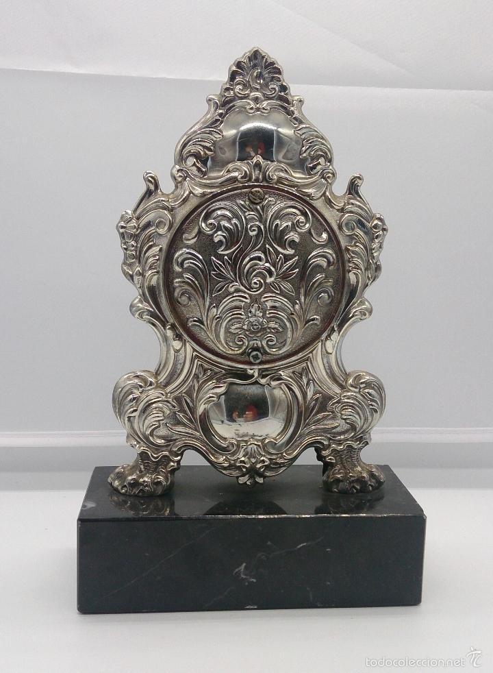 Antigüedades: Reloj antiguo en plata de ley repujada y marmol negro marquina, firmada por el joyero Pedro Durán . - Foto 4 - 56522490