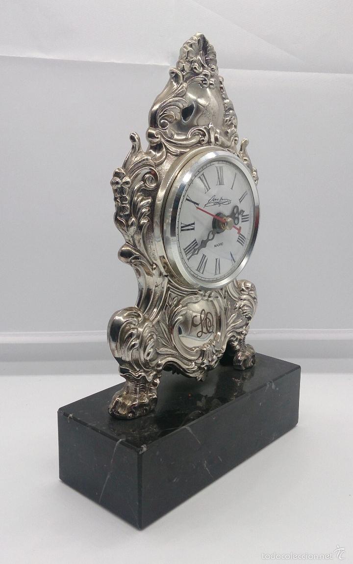 Antigüedades: Reloj antiguo en plata de ley repujada y marmol negro marquina, firmada por el joyero Pedro Durán . - Foto 6 - 56522490