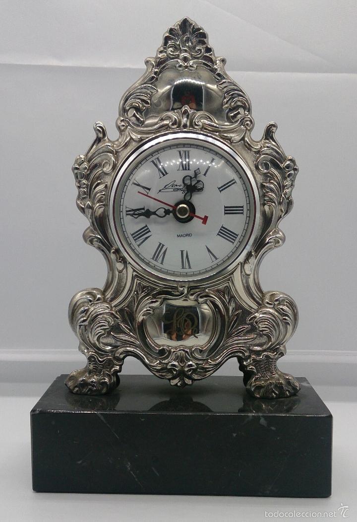 Antigüedades: Reloj antiguo en plata de ley repujada y marmol negro marquina, firmada por el joyero Pedro Durán . - Foto 7 - 56522490