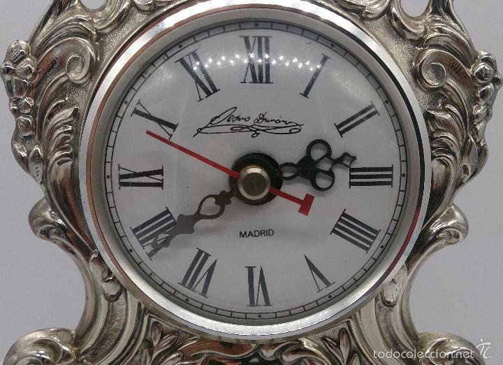 Antigüedades: Reloj antiguo en plata de ley repujada y marmol negro marquina, firmada por el joyero Pedro Durán . - Foto 8 - 56522490