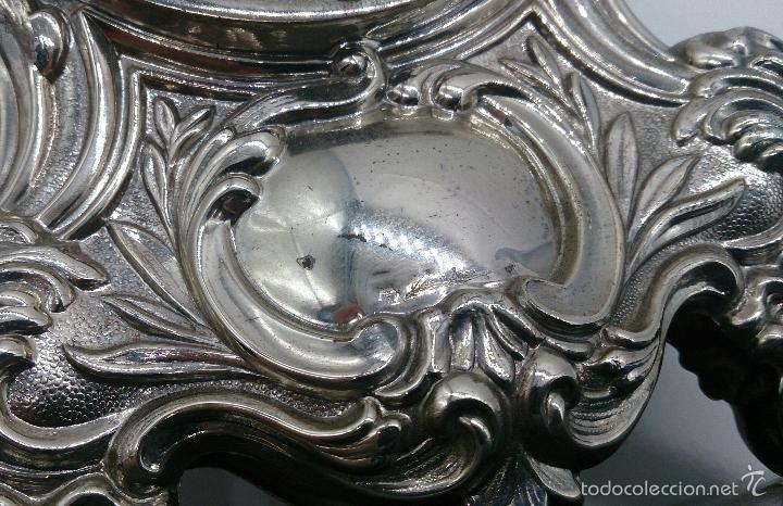 Antigüedades: Reloj antiguo en plata de ley repujada y marmol negro marquina, firmada por el joyero Pedro Durán . - Foto 9 - 56522490
