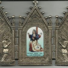 Antigüedades: PEQUEÑA CAPILLA DE NUESTRA SEÑORA DE LA PIEDAD METALICA CON CIERRE VER FOTOS. Lote 56530381