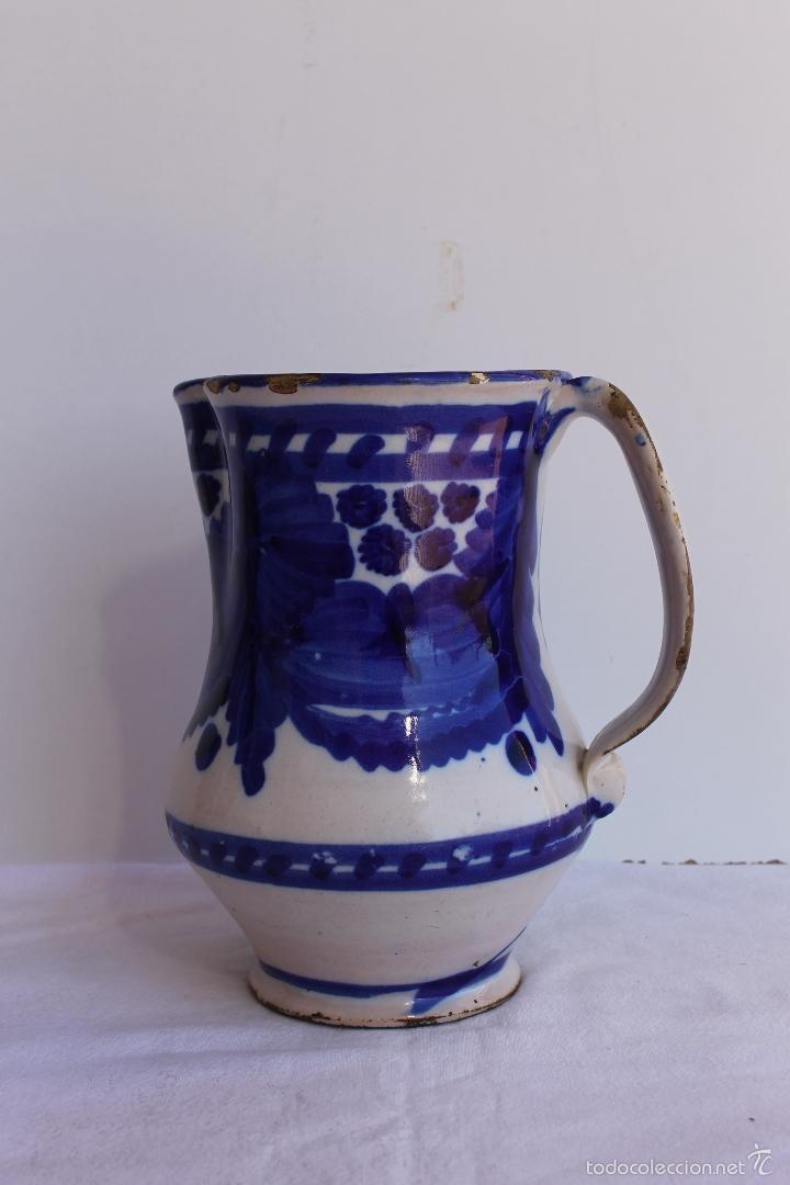 Antigüedades: JARRA AZUL Y BLANCA DE MANISES SIGLO XIX - Foto 2 - 56534216