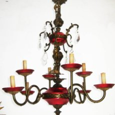 Antigüedades: EXCEPCIONAL LAMPARA PRINCESA AÑOS 40 TIPO STILNOVO EN LATON DORADO Y ALUMINIO ANONIZADO ROSA. Lote 56541853