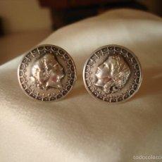Antigüedades: GEMELOS DE PLATA PERFIL DE MUJER FRANCIA. Lote 56546733
