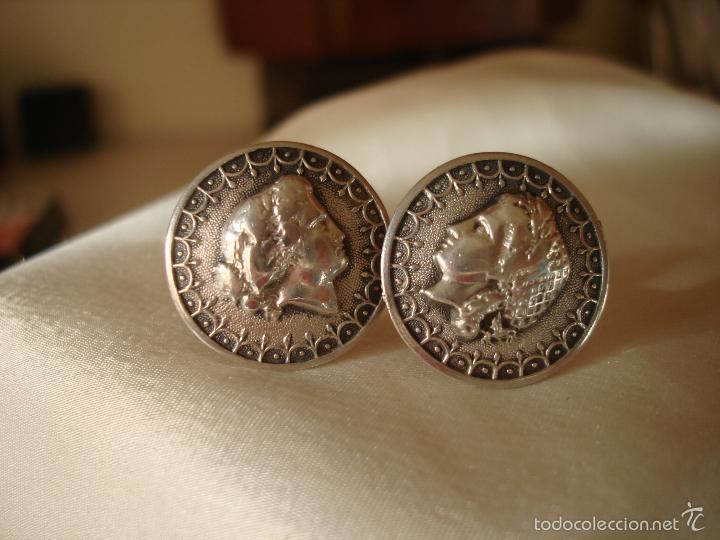 Antigüedades: GEMELOS DE PLATA PERFIL DE MUJER FRANCIA - Foto 2 - 56546733