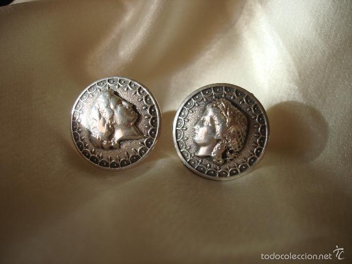 Antigüedades: GEMELOS DE PLATA PERFIL DE MUJER FRANCIA - Foto 3 - 56546733