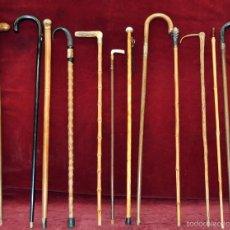 Antigüedades: INTERESANTE LOTE DE 14 BASTONES DE DIFERENTES MATERIALES Y ÉPOCAS. Lote 56583429
