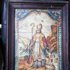 Antigüedades: GRAN AZULEJO AZULEJOS RETABLO CERAMICO SEVILLA MENSAQUE MUY ANTIGUO DIFICIL ENCONTRAR SAN NICOLAS PR. Lote 56563720