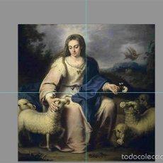 Antigüedades: RETABLO 4 AZULEJOS 15X15 CTM DE LA DIVINA PASTORA. Lote 56568648