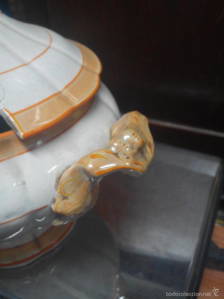Antigüedades: SOPERA BLANCA CON LINEAS NARANJAS - Foto 6 - 26242129