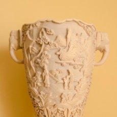 Antigüedades: JARRÓN DE MARFILINA TALLADO MOTIVO CHINO ORIENTAL ELEFANTES. Lote 233473125