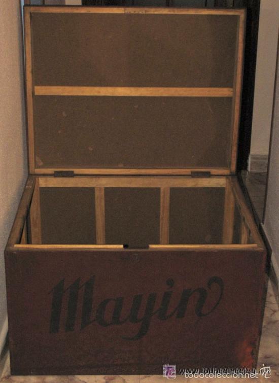Antigüedades: ANTIGUO GRAN BAUL CON PUBLICIDAD DE CHOCOLATE MAYIN. LAVIANA. ASTURIAS - Foto 3 - 56587045