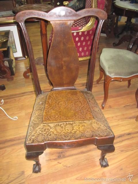 Antigua silla con respaldo de madera y asiento comprar - Tapizado de sillas antiguas ...