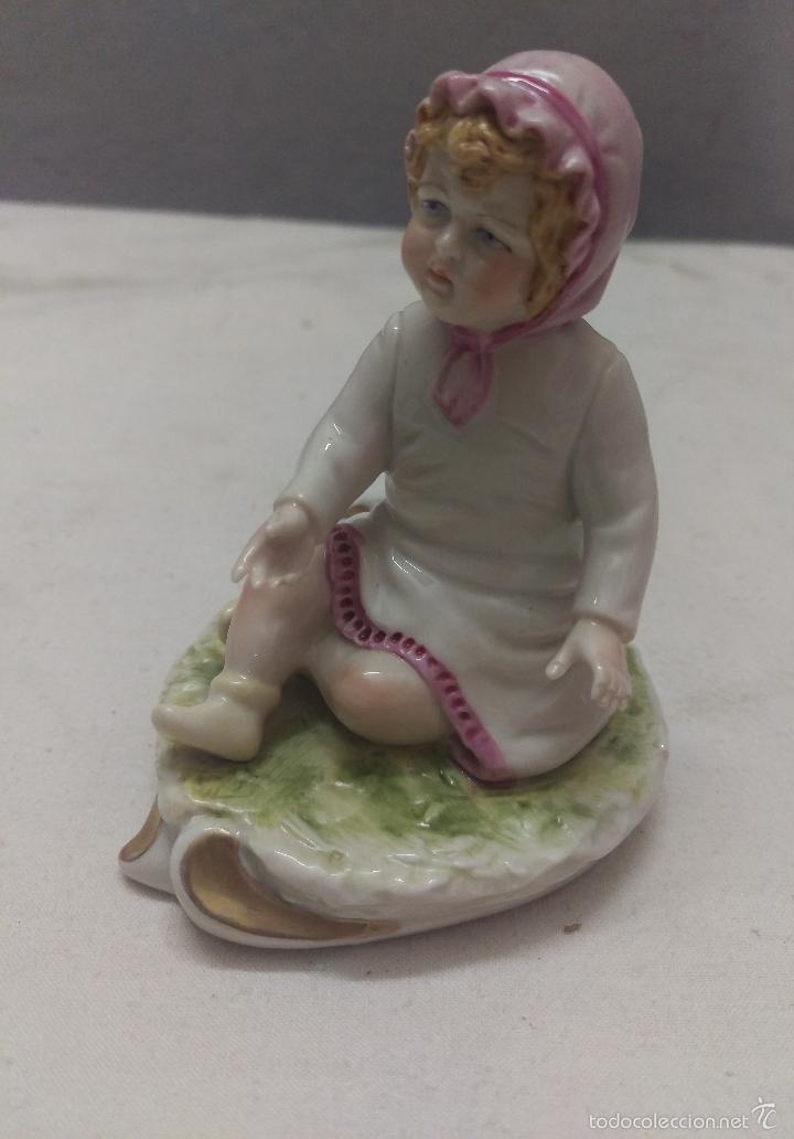 Antigüedades: DELICADA FIGURA INFANTIL EN PORCELANA GALOS GALICIA SELLADA NUMERADA - Foto 2 - 56595079