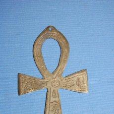 Antigüedades: ANG CRUZ DE LA VIDA DE 11 CM EN METAL. Lote 56608816
