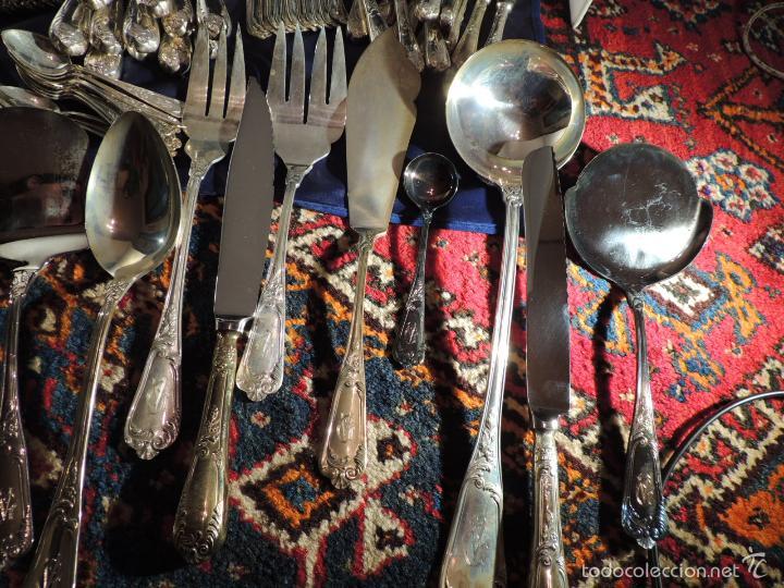 Antigüedades: CUBERTERIA DE PLATA CRUZ DE MALTA 7,6 KG. 170 PIEZAS - Foto 10 - 56621674