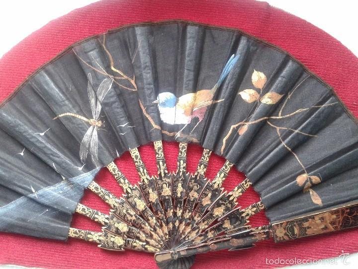 Antigüedades: ABANICO CHINO CANTONES DEL XIX, VARILLAS CAREY O MADRE PERLA DECORADAS EN ORO. ABANIQUERA - Foto 11 - 56651104