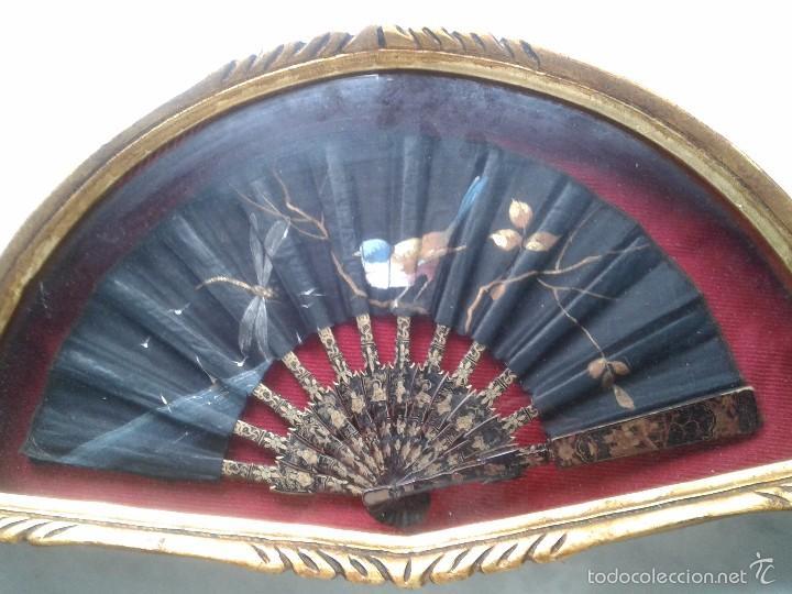 Antigüedades: ABANICO CHINO CANTONES DEL XIX, VARILLAS CAREY O MADRE PERLA DECORADAS EN ORO. ABANIQUERA - Foto 12 - 56651104