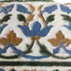 Antiguidades: AZULEJO DE ARISTA O CUENCA CON DECORACION VEGETAL CARDINAS Y ROLEOS TOLEDO PRINC. S XVI. Lote 56655985
