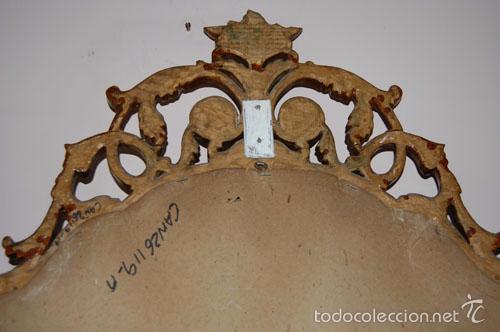 Antigüedades: ESPEJO CORNUCOPIA EN MADERA CON COPETE SUPERIOR E INFERIOR - Foto 3 - 56699678