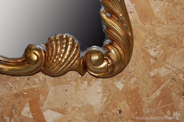 Antigüedades: ESPEJO CORNUCOPIA EN MADERA DORADA DE 105 CM ALTURA - Foto 6 - 56700063