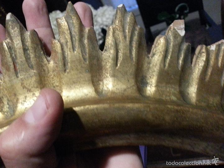 Antigüedades: ANTIGUO MARCO S IXX DE MADERA FORMA DE SOL PAN DE ORO COLOCAR PINTURA O ESPEJO GRAN TAMAÑO - Foto 2 - 56702479