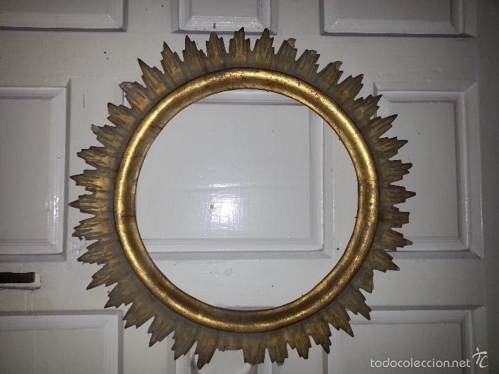 Antigüedades: ANTIGUO MARCO S IXX DE MADERA FORMA DE SOL PAN DE ORO COLOCAR PINTURA O ESPEJO GRAN TAMAÑO - Foto 5 - 56702479