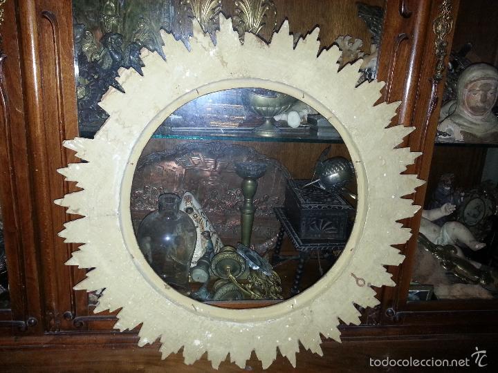 Antigüedades: ANTIGUO MARCO S IXX DE MADERA FORMA DE SOL PAN DE ORO COLOCAR PINTURA O ESPEJO GRAN TAMAÑO - Foto 11 - 56702479