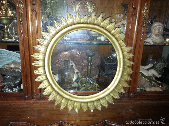 Antigüedades: ANTIGUO MARCO S IXX DE MADERA FORMA DE SOL PAN DE ORO COLOCAR PINTURA O ESPEJO GRAN TAMAÑO - Foto 12 - 56702479