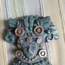 Antigüedades: MALAQUITA. FIGURA ADORNO DE PARED DE DIOS, SACERDOTE O GUERRERO DE LAS CULTURAS DEL YUCATÁN. Lote 56702859