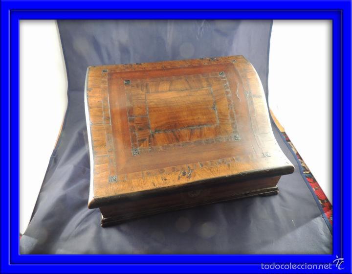CAJA DE MADERA SIGLO XVIII PAPELERO CON MARQUETERIA (Antigüedades - Muebles Antiguos - Auxiliares Antiguos)