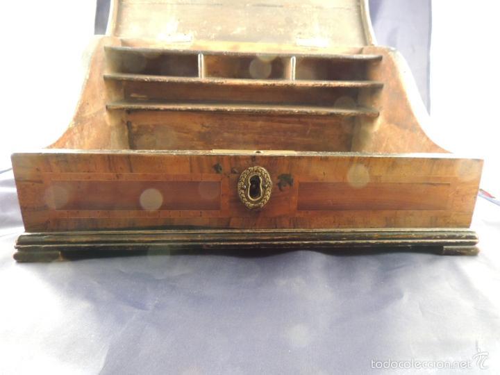 Antigüedades: CAJA DE MADERA SIGLO XVIII PAPELERO CON MARQUETERIA - Foto 4 - 56714242