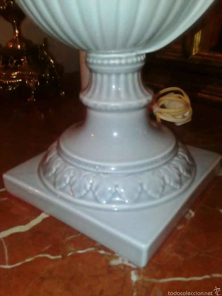Antigüedades: Lampara de Hispania. Manises. Esmaltada en gris perla. Modernista con un toque clasico. - Foto 2 - 56716555