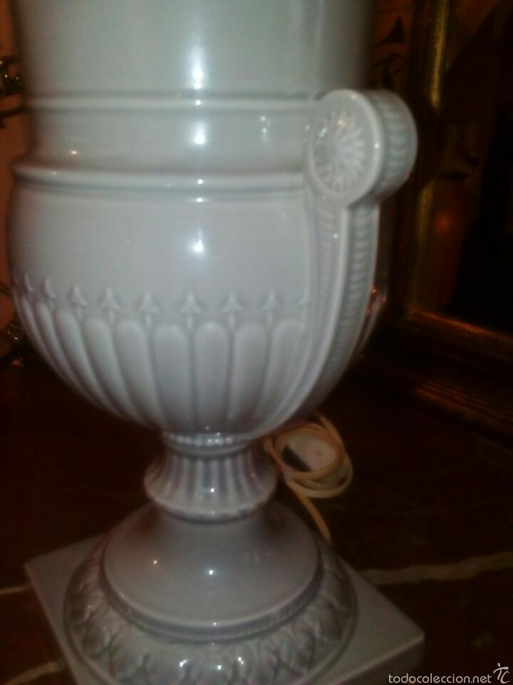 Antigüedades: Lampara de Hispania. Manises. Esmaltada en gris perla. Modernista con un toque clasico. - Foto 4 - 56716555