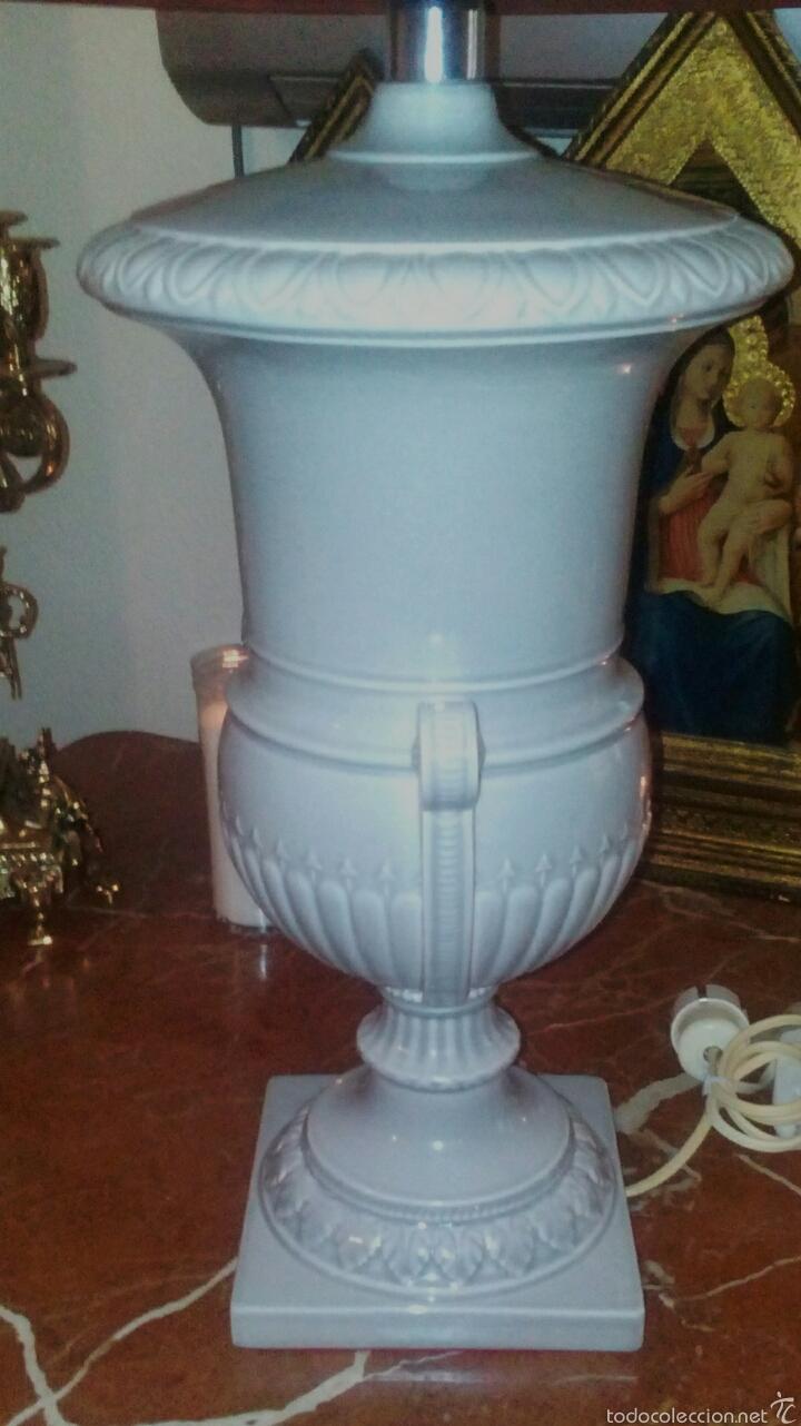 Antigüedades: Lampara de Hispania. Manises. Esmaltada en gris perla. Modernista con un toque clasico. - Foto 5 - 56716555