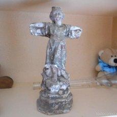 Antigüedades: NIÑO O ANGEL EN LA CRUZ FIGURA RELIGIOSA SIN DETERMINAR ANTIGUEDAD. Lote 56717479