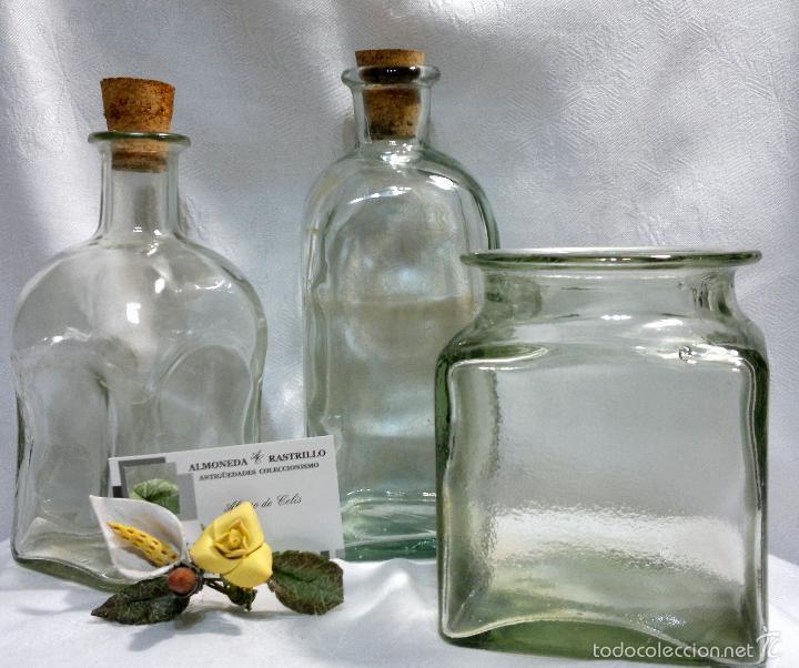 Antigüedades: CONJUNTO DE TRES RECIPIENTES ANTIGUOS DE COCINA EN VIDRIO. - Foto 2 - 56727601