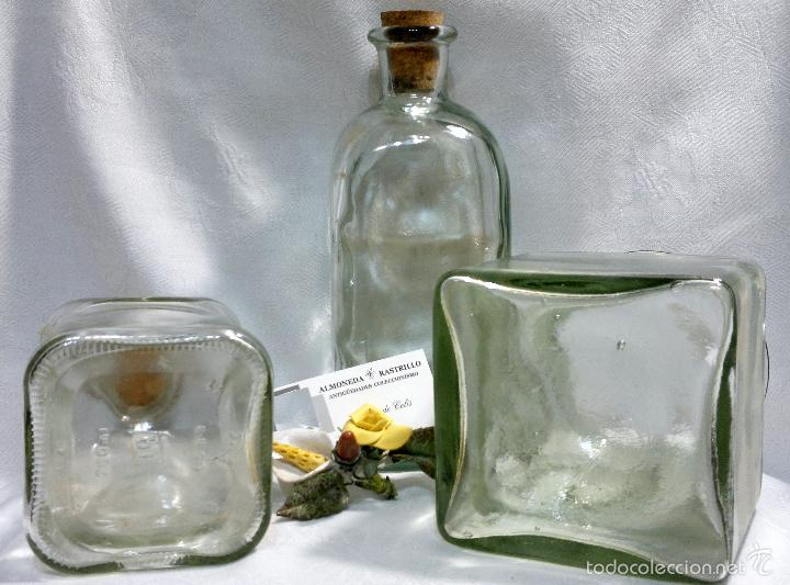Antigüedades: CONJUNTO DE TRES RECIPIENTES ANTIGUOS DE COCINA EN VIDRIO. - Foto 3 - 56727601