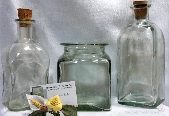 Antigüedades: CONJUNTO DE TRES RECIPIENTES ANTIGUOS DE COCINA EN VIDRIO. - Foto 4 - 56727601