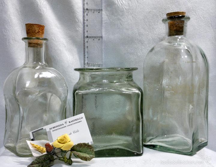 Antigüedades: CONJUNTO DE TRES RECIPIENTES ANTIGUOS DE COCINA EN VIDRIO. - Foto 8 - 56727601