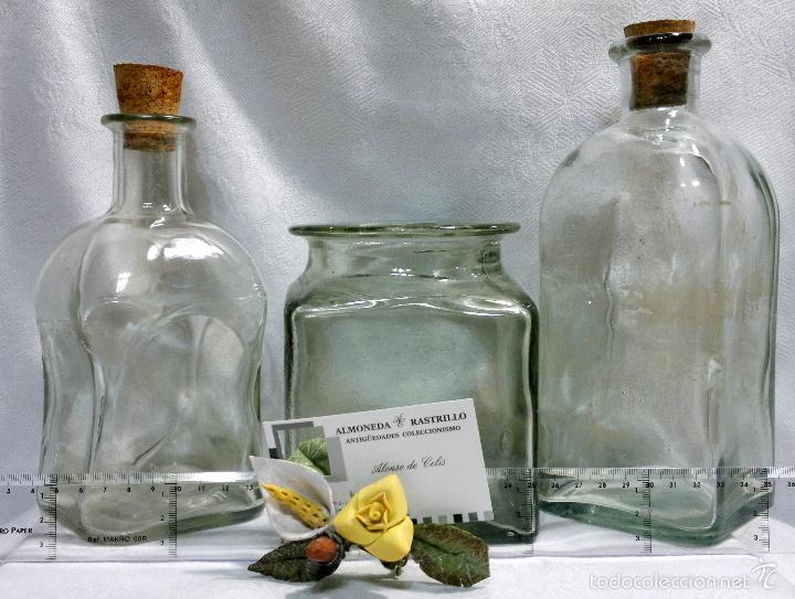 Antigüedades: CONJUNTO DE TRES RECIPIENTES ANTIGUOS DE COCINA EN VIDRIO. - Foto 9 - 56727601