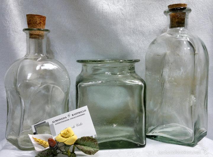 Antigüedades: CONJUNTO DE TRES RECIPIENTES ANTIGUOS DE COCINA EN VIDRIO. - Foto 10 - 56727601