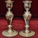 Antigüedades: INTERESANTE PAREJA CANDELEROS DE CRISTAL SOPLADO Y BAÑADO AL MERCURIO DE LA GRANJA. Lote 56733878
