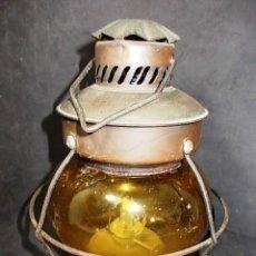 Antigüedades: ANTIGUO FAROLILLO CON CRISTAL COLOR AMBAR. Lote 56741934