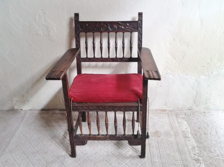 Antigüedades: Sillón frailero antiguo, sillón estilo renacimiento, Luis XIII. Sillón español, sillón castellano. - Foto 2 - 56742620