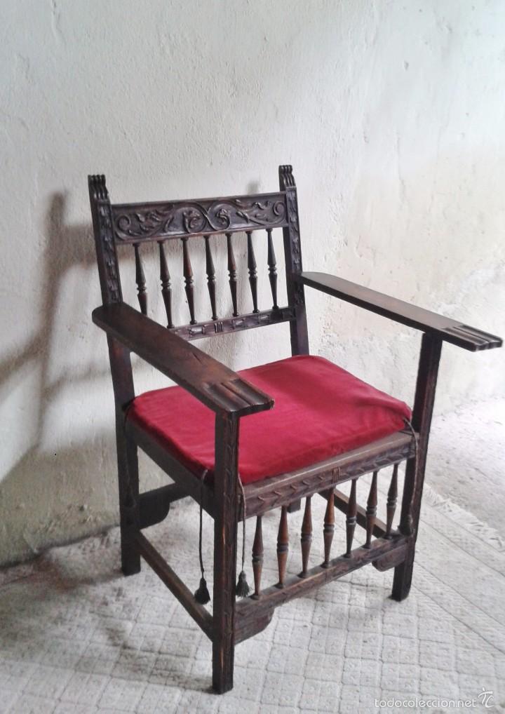 Antigüedades: Sillón frailero antiguo, sillón estilo renacimiento, Luis XIII. Sillón español, sillón castellano. - Foto 3 - 56742620