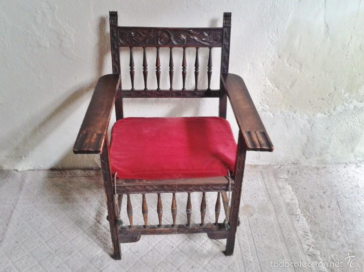 Antigüedades: Sillón frailero antiguo, sillón estilo renacimiento, Luis XIII. Sillón español, sillón castellano. - Foto 5 - 56742620