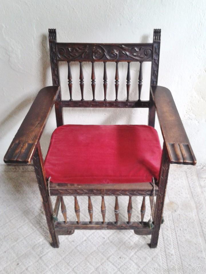 Antigüedades: Sillón frailero antiguo, sillón estilo renacimiento, Luis XIII. Sillón español, sillón castellano. - Foto 6 - 56742620